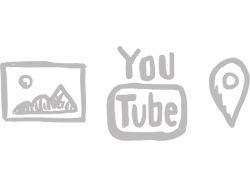 Icons showing images, YouTube, map