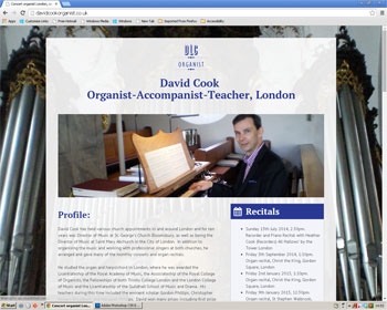 Website for David Cook organist, London