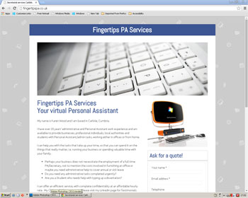 Website for Fingertips PA Services Carlisle
