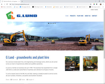 Website for G Lund Plant Hire, Penrith