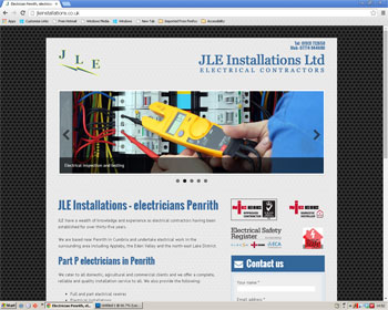 Website for JLE Installations - electrician Penrith
