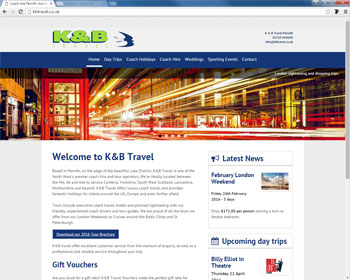 Website for K and B Travel, Penrith, Cumbria