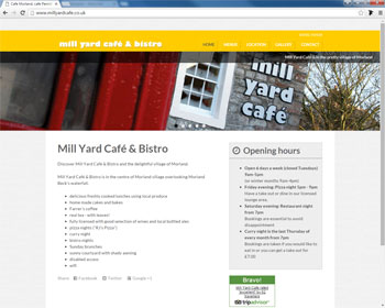 Website for Mill Yard Cafe and Bistro, Morland, Penrith, Cumbria