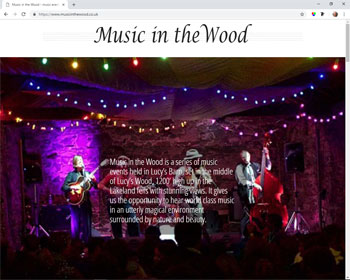 Website for Music in the Wood, Cumbria