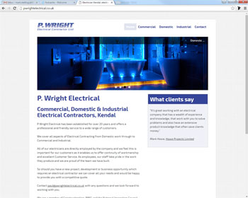 Website for P Wright Electrical, Kendal, Cumbria