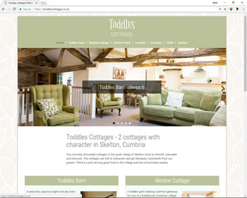 Website for Toddles Cottages, Skelton, Cumbria