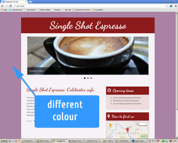 Photo showing new web site background colour