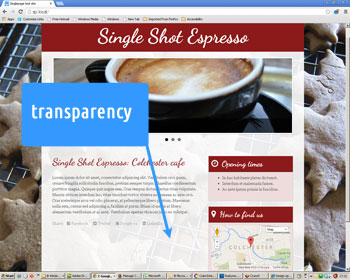 Photo showing transparency of overlay behind main content in web site