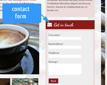 Photo showing a contact form on the web site