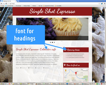 Photo showing web site heading font