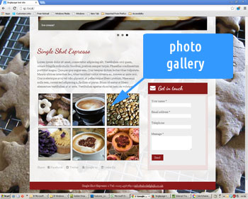 Photo showing photo gallery thumbnails in a web site