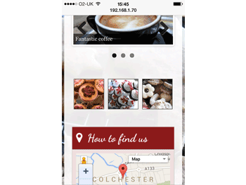 Photo showing slideshow, gallery and map on an iPhone