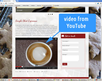 Photo showing a YouTube video embedded in the web site