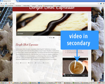 Photo showing a YouTube video in a secondary position