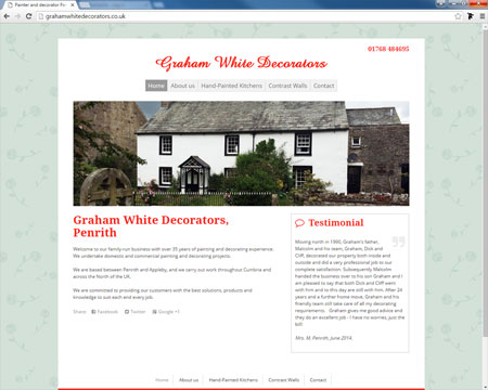 Website for Graham White Decorators, Cumbria