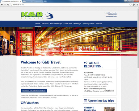 Website for K & B Travel, Penrith, Cumbria