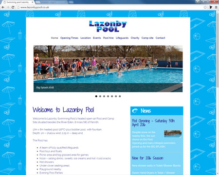 Website for Lazonby Pool, Cumbria