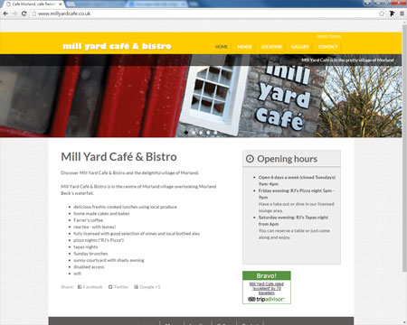 Website for Mill Yard Cafe, Morland, Cumbria